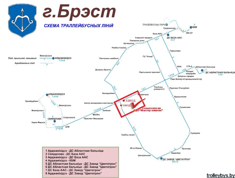 схема движения троллейбусов в бресте